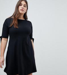 Короткое приталенное платье с бантами на рукавах ASOS CURVE - Черный