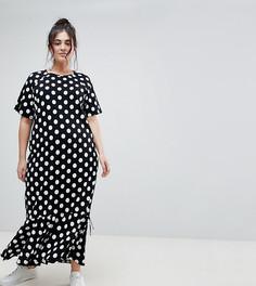 Платье макси в горошек ASOS CURVE - Мульти
