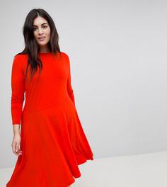 Приталенное платье миди с асимметричным подолом ASOS CURVE - Красный