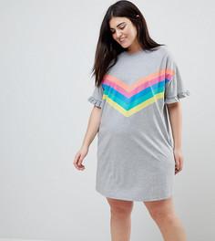 Платье-футболка в разноцветную полоску с оборками ASOS CURVE - Серый