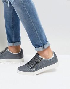 Серые кроссовки с эффектом крокодиловой кожи и молниями River Island - Серый