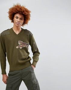 Джемпер в стиле милитари с вышивкой тигра Maharishi - Зеленый