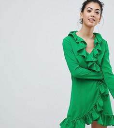 Платье с запахом и оборкой Boohoo Petite - Зеленый