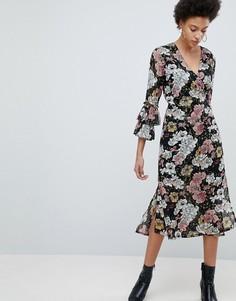 Платье миди с запахом и оборками на рукавах Selected Femme - Мульти