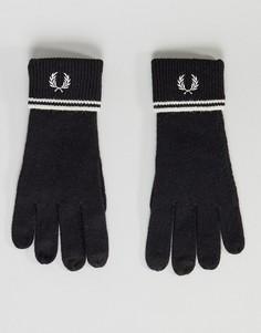 Черные перчатки из овечьей шерсти с отделкой Fred Perry - Черный