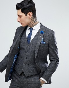Серый облегающий пиджак в клетку Harry Brown - Серый