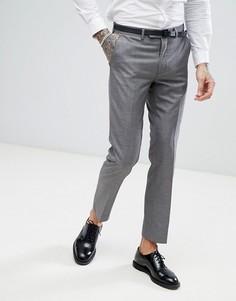 Светло-серые узкие брюки в горошек Harry Brown - Серый