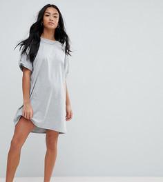 Платье-футболка с отворотами на рукавах ASOS PETITE Ultimate - Серый