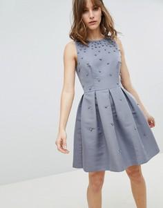 Приталенное платье с искусственным жемчугом Ted Baker - Серый
