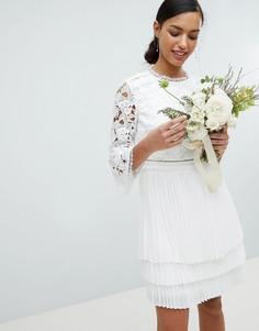 Кружевное платье с плиссированной юбкой Ted Baker - Кремовый