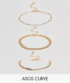 Набор из 3 браслетов-цепочек в винтажном стиле ASOS CURVE - Золотой
