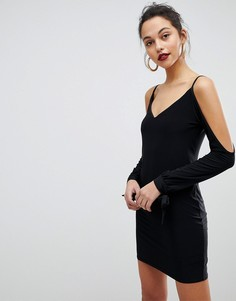 Облегающее платье-комбинация мини с разрезами на рукавах Club L - Черный