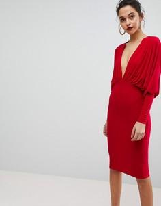 Платье миди с рукавами летучая мышь Club L - Красный