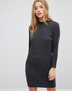 Платье в рубчик с высоким воротом JDY - Серый