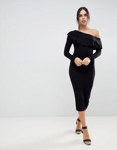 Асимметричное облегающее платье миди с двойной оборкой ASOS - Черный