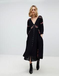 Платье миди с вышивкой Free People - Черный