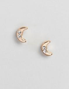Золотистые серьги-гвоздики с кристаллами DesignB London - Золотой
