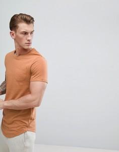Удлиненная футболка с асимметричным подолом Produkt - Оранжевый