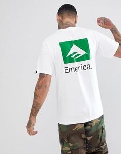 Белая футболка с принтом на спине Emerica - Белый
