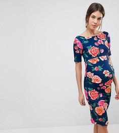 Платье с цветочным принтом, открытыми плечами и укороченными рукавами ASOS Maternity - Мульти