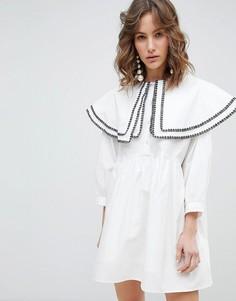 Хлопковое свободное платье с двухслойным кейпом Sister Jane - Белый