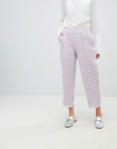 Твидовые брюки в ломаную клетку Sister Jane - Фиолетовый