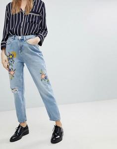 Джинсы в винтажном стиле с цветочной вышивкой Pimkie - Синий