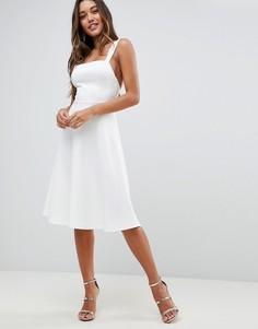 Платье для выпускного с квадратным вырезом ASOS - Белый