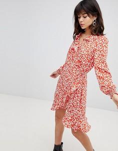Платье с принтом, запахом и оборкой Vero Moda - Оранжевый