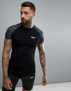 Черная обтягивающая футболка с камуфляжными рукавами Muscle Monkey - Черный