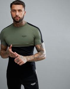 Облегающая футболка цвета хаки в полоску Muscle Monkey - Зеленый