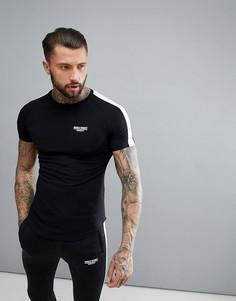 Черная обтягивающая футболка в полоску Muscle Monkey - Черный