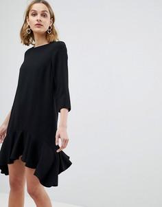Свободное платье с рукавами 3/4 и асимметричным подолом River Island - Черный