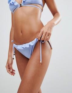 Плавки бикини с завязками и оборкой River Island - Синий