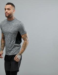 Серая меланжевая футболка с контрастными вставками New Look SPORT - Серый