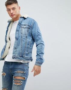 Светлая джинсовая куртка на меховой подкладке New Look - Синий