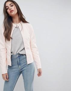 Куртка из искусственной кожи без воротника Vila - Розовый