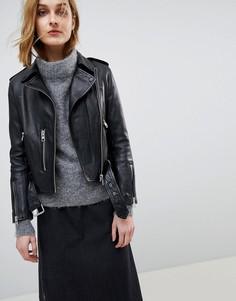 Кожаная байкерская куртка в винтажном стиле All Saints Balfern - Черный