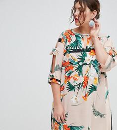 Платье с завязками на рукавах и цветочным принтом River Island Plus - Мульти