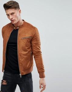 Светло-коричневая куртка из искусственной замши River Island - Рыжий