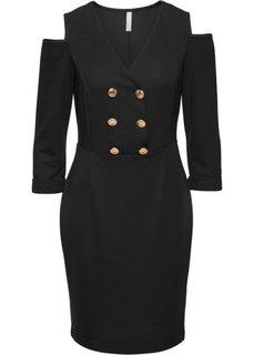 Платье с прорезями (черный) Bonprix