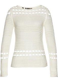 Пуловер ажурный (белый) Bonprix