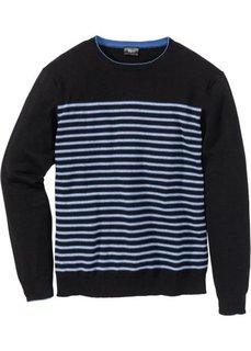 Пуловер Regular Fit в полоску (черный в полоску) Bonprix
