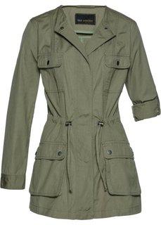 Удлиненная джинсовая куртка (оливковый) Bonprix