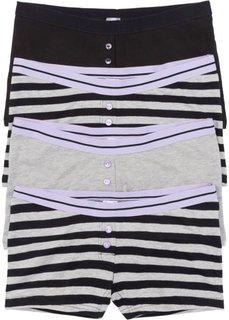 Женские трусики-боксеры (4 шт.) (черный/светло-серый меланж в полоску) Bonprix