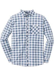 Рубашка Slim Fit с длинным рукавом (синий в клетку) Bonprix