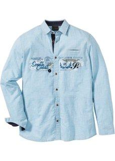 Рубашка Regular Fit с длинным рукавом (темно-бирюзовый в полоску) Bonprix