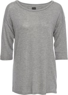 Пуловер на пуговицах (серый меланж) Bonprix