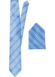 Набор: галстук + карманный платочек в полоску (нежно-голубой в полоску) Bonprix