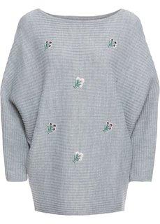 Пуловер с цветочной вышивкой (серый меланж) Bonprix